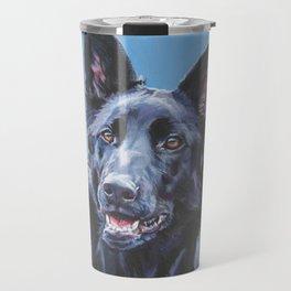 black German Shepherd dog portrait art from an original painting by L.A.Shepard Travel Mug