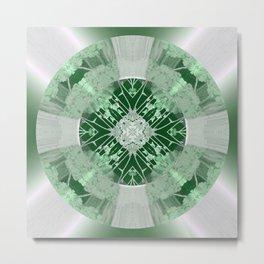 Microchip Mandala in Green Metal Print