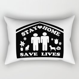 Stay Home Save Lives Two Men  Rectangular Pillow