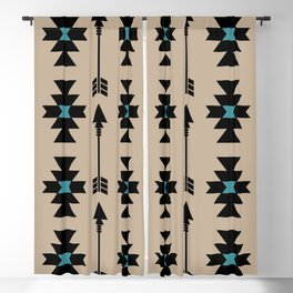 Southwestern Arrow Pattern 253 Black Turquoise and Beige Blackout Curtain