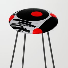 Optical Red Counter Stool