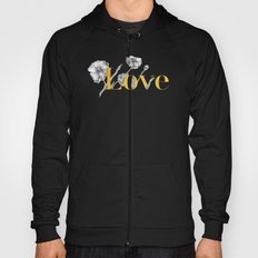 Love - Gold flowers and polkadots on white Hoody