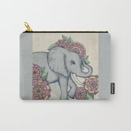 Little Elephant in soft vintage pastels Carry-All Pouch