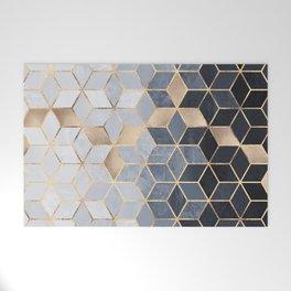 Soft Blue Gradient Cubes Welcome Mat