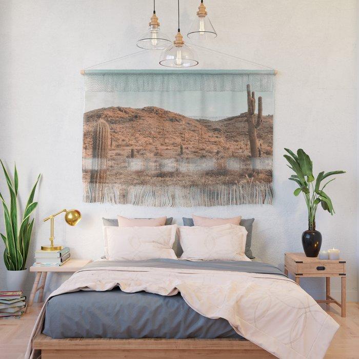 Saguaro Mountain // Vintage Desert Landscape Cactus Photography Teal Blue Sky Southwestern Style Wall Hanging