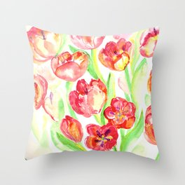 Mothers Day Tulips Throw Pillow