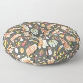 Welsh Corgi Dog Breed Fall Party -Cute Corgis Celebrate Autumn With Pumpkins Mushrooms Leaves - Oliv Green Floor Pillow