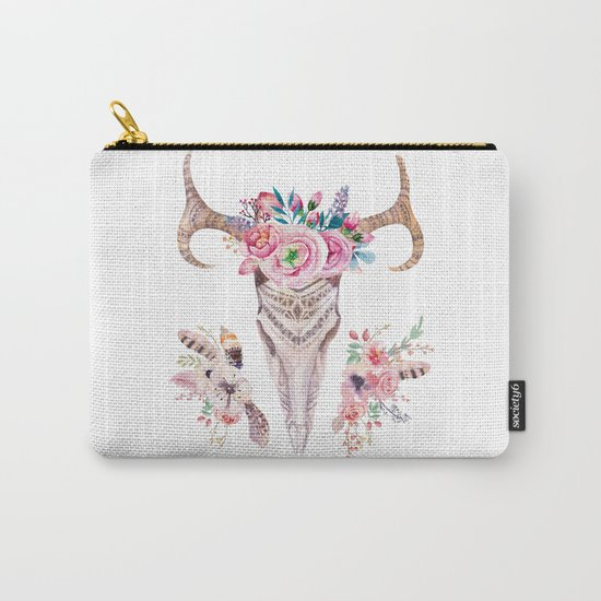 Deer skull with feathers and flowers Carry-All Pouch