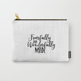 Bible verse art Fearfully and wonderfully made print Psalm 139:14 nursery decor printable wall art Carry-All Pouch