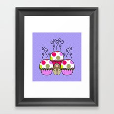 Cute Monster With Pink And Purple Polkadot Cupcakes Framed Art Print