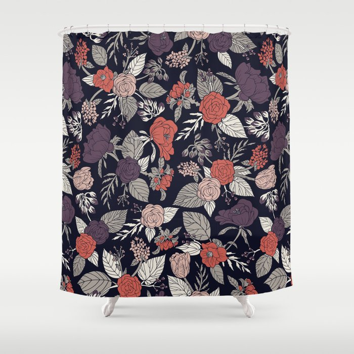 Purple Gray Navy Blue C Fl, Shower Curtains Gray And Blue