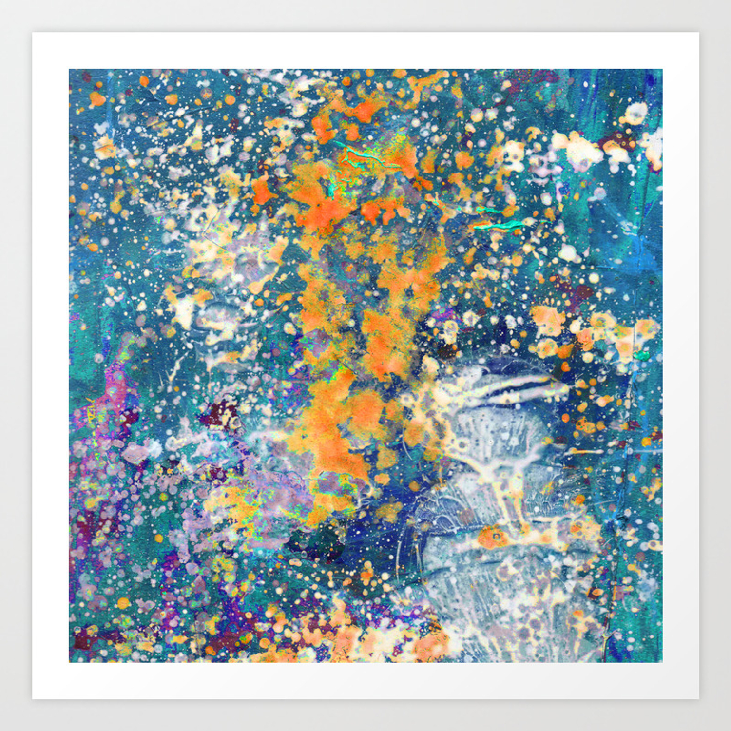 Abstract painting mixed media in turquoise blue orange and purple texture paint splashes drops art print