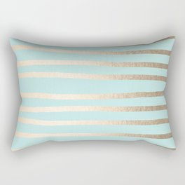 Simply Drawn Stripes White Gold Sands on Succulent Blue Rectangular Pillow