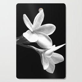 White Flowers Black Background Cutting Board