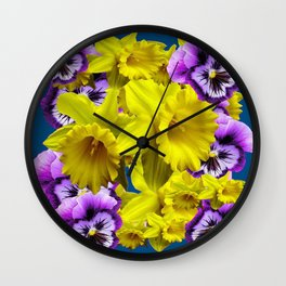 YELLOW SPRING DAFFODILS & LILAC PANSIES BLUE COLOR Wall Clock