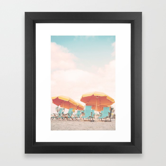 Beach Chairs and Umbrellas Framed Art Print