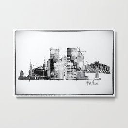 Black and white watercolor Portland skyline Metal Print