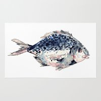 fairytale Area & Throw Rugs featuring Fairytale Fish by Christie Rainey