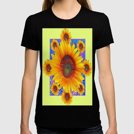 Decorative Yellow Sunflowers Purple-Blue Geometric Pattern T-shirt