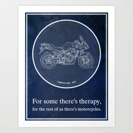 Yamaha FZ6b 2007 art print and motorcycle quote, gift for men Art Print