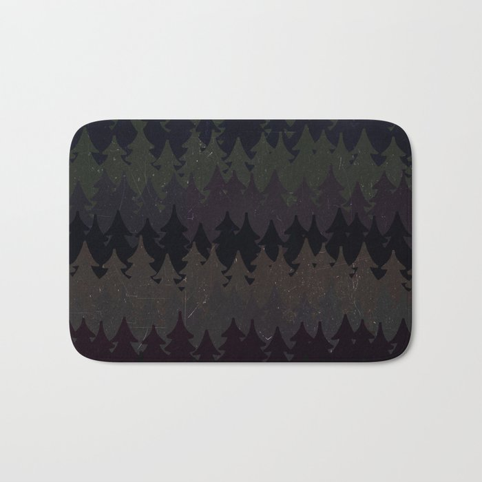 The secret forest at night - Abstract dark tree pattern Bath Mat