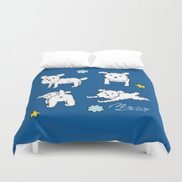 four shades of poodle Duvet Cover