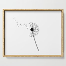Dandelion Black and White Serving Tray