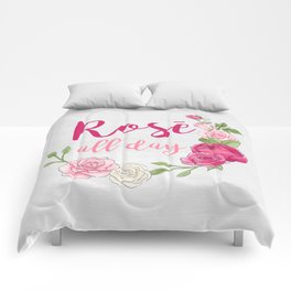 Rose All Day - White Wood Comforters