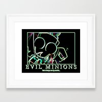 invader zim Framed Art Prints featuring invader zim gir by jjb505