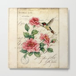 Vintage Roses Print Hummingbird Art Love Quote Rustic Decor Valentine Gift Metal Print