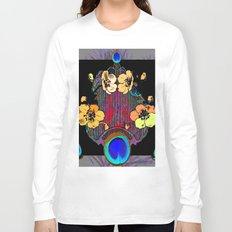 Modern Floral Grey-Black Peacock Blue Eyes art Long Sleeve T-shirt
