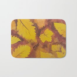 Yellow Autumn Leaf and a red pear painting Fall pattern inspired by nature colors Bath Mat
