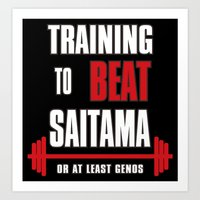 Training to beat saitama Art Print