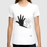her T-shirts featuring Rabbit Hand Shadow by Mobii