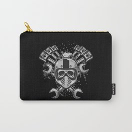 Grunge Distressed Biker Skull Carry-All Pouch