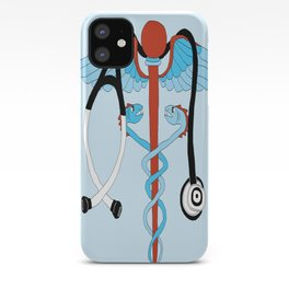 medical caduceus and stethoscope iPhone Case