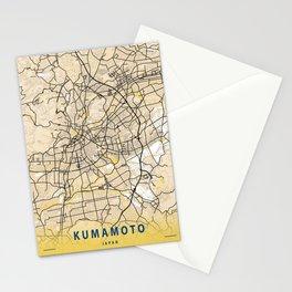 Kumamoto Yellow City Map Stationery Cards
