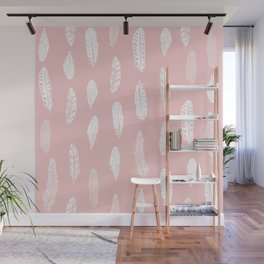 Feather pink and white minimal feathers pattern nursery gender neutral boho decor Wall Mural