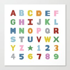 Alphabet on White Canvas Print