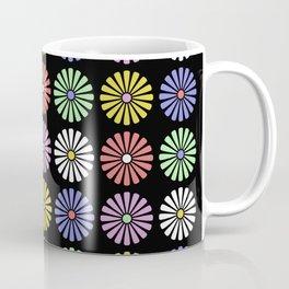 Pastel Flowers Pattern (On Black) Coffee Mug