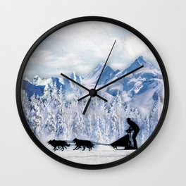 Dogsledding Wall Clock