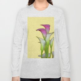 PURPLE & WHITE CALLA LILIES FLORAL YELLOW ART Long Sleeve T-shirt