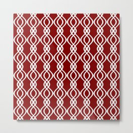 Maroon and white curved lines Metal Print