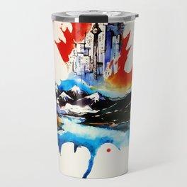 Vintage Canada Maple Leaf Travel Love Watercolor Travel Mug