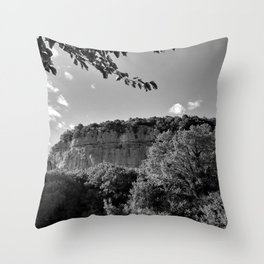 rock cliff at lim channel fjord istria croatia europe black white Throw Pillow