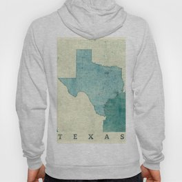 Texas State Map Blue Vintage Hoody