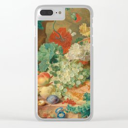 """Jan van Huysum """"Still Life with Flowers and Fruit"""" Clear iPhone Case"""