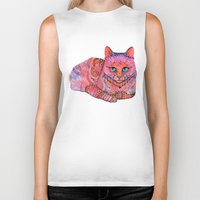stickers Biker Tanks featuring SUNSET CAT by Ola Liola