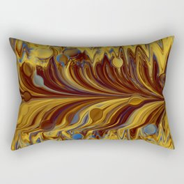 Electric-Blue, Brown, and Gold Abstract Rectangular Pillow