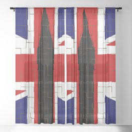 Union Flag With Big Ben Tiled Sheer Curtain